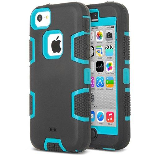 ULAK - Cover per iPhone 5C Case - Cover iPhone 5C Custodia Ibrida a Protezione Integrale con Parte Esterna in 3 Strati di Morbido Silicone e Interno Rigido per Apple iPhone 5C - (Blu + Nero)