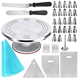 Cake Decorating Supplies: 1 Aluminium alloy cake turntable, 24 stainless steel icing tips, 3 decorating comb, 2 silicone pastry bags, 1 flower nails, 2 reusable plastic couplers, with which you can create all types of patterns on cake, cupcake. Revol...