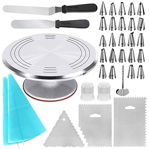 Kootek 35-in-1 Cake Decorating Supplies with Aluminium Alloy Revolving Cake Turntable, 24 Piping Tips, 2 Frosting Spatula, 3 Icing Comb, 2 Reusable Pastry Bags, 2 Couplers and 1 Flower Nail
