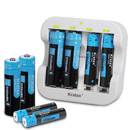Kratax Akku 1.5V AA und AAA Wiederaufladbare Lithium Batterien und Schnell Batterie Ladegerät [4 Stücke AA & 4 Stücke AAA und 1 ladegerät ]