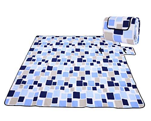 Honeystore Flanell Wasserdichte Yoga Matte Strand Ausflug Picknickdecke mit Tragegriff 200 * 150 cm Blau Karo