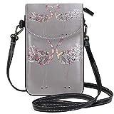 Lawenp Grey Love Flamingo Heart, pequeño bolso bandolera de cuero, cartera con bloqueo RFID, monedero, bolsos de teléfono para viajes, niñas, mujeres