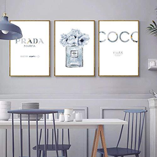 Parfum fles cotiations van de klep, kunstbloemen, parfumkleur, muurkunst, blauwe afbeeldingen voor de decoratie van de woonkamer, 40 x 60 cm, 3 delen zonder lijst.