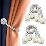 Goowin 2 pares de alzapaños de cortina, fuertes alzapaños magnéticos para cortinas de resina, perlas decorativas, cuerdas para cortinas y decoración, 48 cm de largo