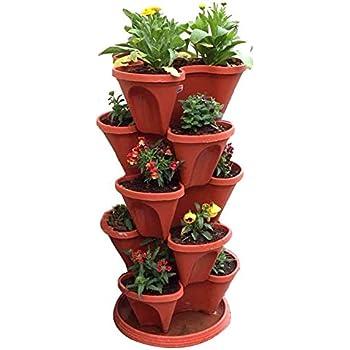 VGreen Stack A Pot Floor Set of 7 (6 Pot + 1 Bottom Tray) Brown Color (Set of 7 Brown)