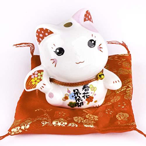 Maneki Neko Di Porcellana - Piccolo Gatto Fortunato Giapponese (Orecchio Rosa)