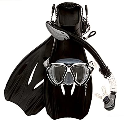 Sea Scout Adult Snorkeling Set - Dry-top Snorkel/Fins/Mask (Large)