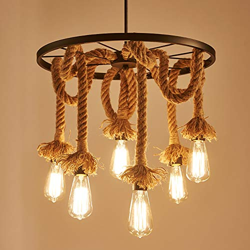 CSDM.AI Lámpara Colgante Retro Vintage Cuerda De Cáñamo Colgante De Luz Industrial Lámpara De Interior Luminaria De Hierro Forjado Redondo (6 Cabezas)