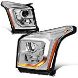 Pair of LED DRL+Turn Signal Chrome Amber Projector Headlight Lamps Replacement for GMC Yukon XL 15-20