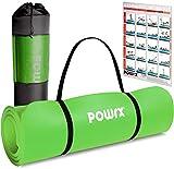 POWRX Tapis de Gymnastique Anti-DÉRAPANT sans phtalates/Tapis de Sol – Pilates/Sangle de Transport + Sac + Poster d´entraînement (Vert, 190 x 60 x 1,5 cm)