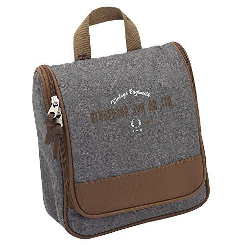 F23 Reisetaschen - Kulturbeutel Heritage-Serie in grau-meliert - wasserfest Hacken, 4 Netzfächer, 2 Reisverschlussfächer