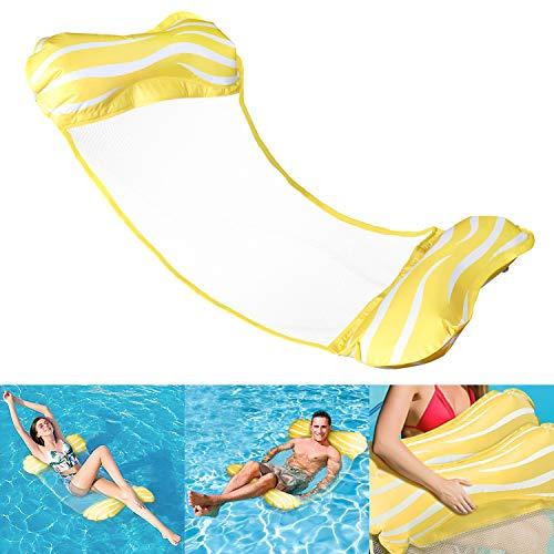 Aiglam Wasser Hängematte, Pool-Hängematte 4-in-1-luftmatratze Pool Erwachsene Pool Stuhl Aufblasbare Schwimmende Strand-Liege Für (Gelb)