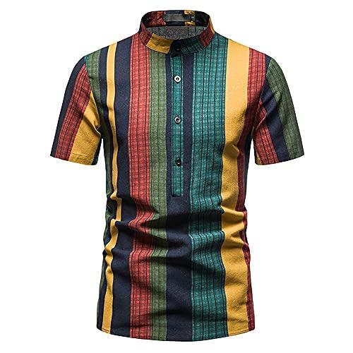 Shirt Hombre Slim Fit Verano Estampado Hombre Manga Corta Urbano Moderno Vacaciones Viajes Al Aire Libre Hombre Ocio Camisas Estiramiento Casual Hombre Henley Shirt