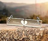 2 Schlüsselanhänger mit Wunschgravur Spruch Namen 'Paar' Gravur Valentinstaggeschenk Partner-Liebes-Geschenk aus massivem Acrylglas schöne Geschenkidee zum Valentinstag für Freund Freundin