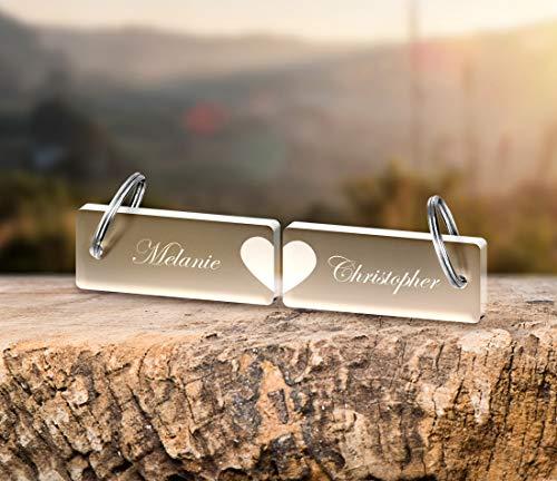 2 Schlüsselanhänger mit Wunschgravur Spruch Namen
