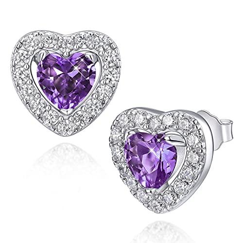 Pendientes para mujer Pendientes de plata de ley 925 con amatista y piedra natal de febrero con pendientes de corazón de circonita cúbica 5A