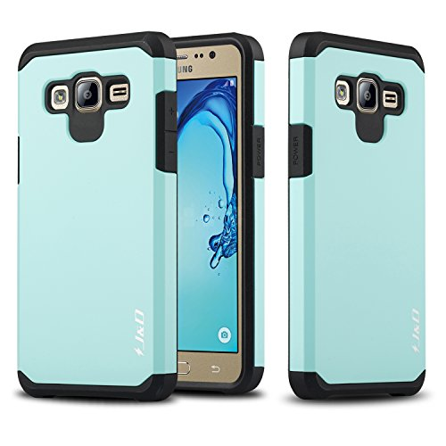 J&D Case Compatible for Galaxy On5 Case, Heavy Duty [Dual Layer] Hybrid Shock Proof Protective Rugged Bumper Case for Samsung Galaxy On5 Case - Mint