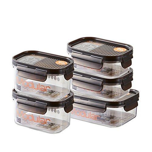 LOCK & LOCK Vorratsdosen 5er Set BISFREE, bpa frei & luftdicht - Frischhaltedosen mit Deckel für Kühlschrank, Tiefkühler & Mikrowelle geeignet
