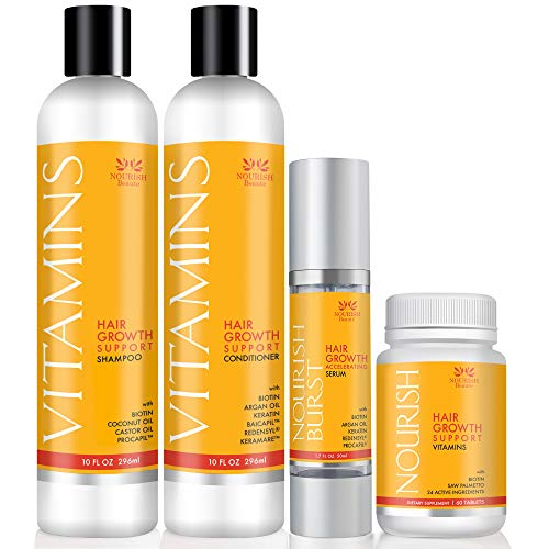 Nourish Beaute Hair Loss Bundle to Promote Hair Regrowth, Volume and Thickening, Includes 1 10 Ounce Bottle of Shampoo and 1 10 Ounce Bottle of Conditioner, 60 Vitamin Tablets and 1 1.7 Ounce of Serum