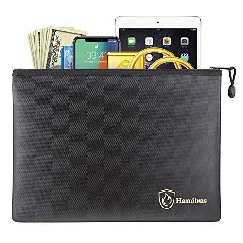 Hamibus Feuerfeste Dokumententasche, 34,3 x 24,9 cm, wasserabweisend, Geldbeutel, Datei, sichere Aufbewahrungstasche mit Reißverschluss für A4-Dokumente