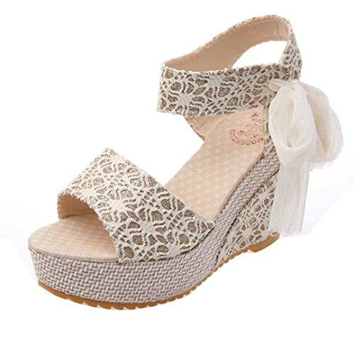 LONUPAZZ Sandales Talon Haut Compensé Femme Fashion été Pente avec Tongs Sandales Mocassins Chaussures (38, Blanc)