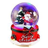 クリスマスのスノードーム、オルゴールミュージカルジングルベルサンタと雪だるまの装飾とギフト、手作りのウォーターボール工芸品