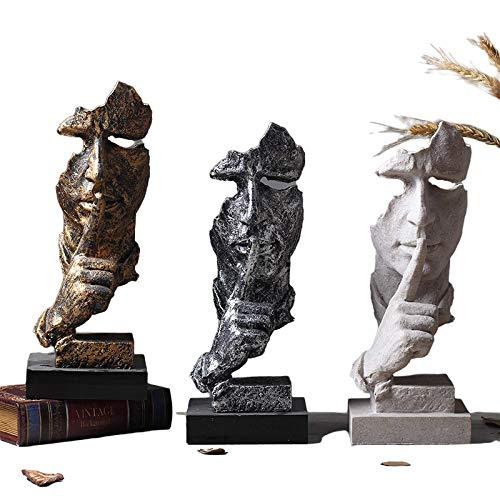 Intramachine, Silence is Golden Figura abstracta Artesanía Creativa Nórdica Escultura Decoración Retro Oficina Salón Decoración Regalo (Dorado)