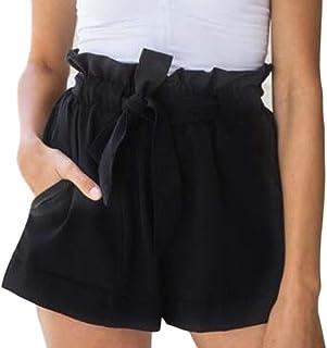 GUOCAI Women Plain Simple Summer Bandage Waisted Mid Solid Straight Leg Beach Shorts