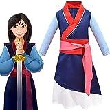 Nuevo disfraz de cosplay Mulan Vestido de rendimiento para niños de tres piezas Disfraz de Halloween Mulan Juego de roles Ropa para niños