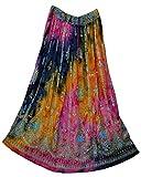 Radhy krishna fashions Multi tie dye Yoga Trendz Women's Sequined Crinkle Broomstick Gypsy Long Skirt (RED Multi)