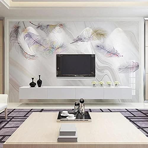 Papel pintado adhesivo de pared 3D personalizado moderno abstracto pluma mármol foto arte de pared sala de estar sofá TV Mural -250 * 175 cm