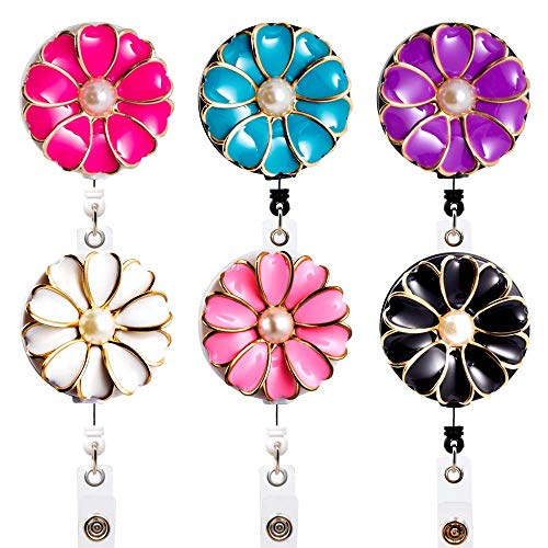 Qinsuee 6 Pack Camellia Badge Reels, 24 in Retractable Cord with Rotating Alligator Clip, Assorted Colors ID/Name Badge Holder Clip for Nurse, Teacher and Office Use