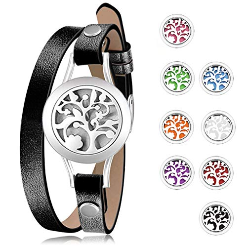 Gleamart Black Essential Oil Diffuser Bracelet Aromatherapy Stainless Steel Locket Leather Bracelets with 8 pcs Color Pads Jewelry Gift for Women