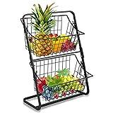 Soporte de 2 niveles para cesta de frutas de metal, para cocina, estante de almacenamiento multiusos VASZOLA para colgar verduras, artículos del hogar, artículos de tocador (negro)