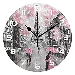 Dozili Romantic Hand Drawn Paris Eiffel Tower Decorative Wooden Round Wall Clock Arabic Numerals Design Non Ticking Wall Clock Large for Bedrooms, Living Room, Bathroom