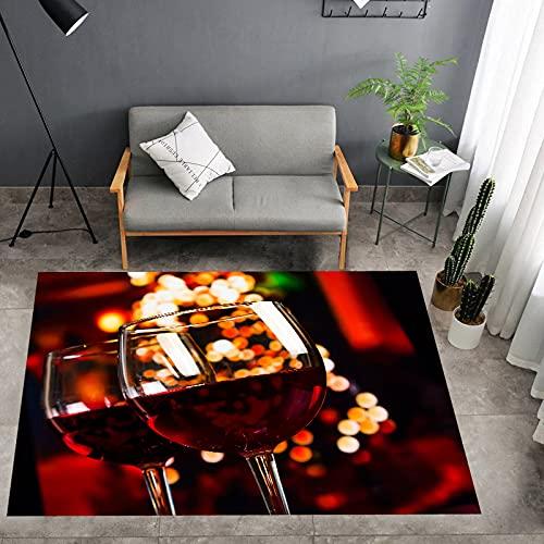 rzskdjgv Vino Copa De Vino Alfombra Alfombra De Impresión 3D Sala De Estar Dormitorio Alfombra Alfombra De Piso 180X260Cm