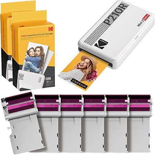 Kodak Mini 2, Impresora Portatil para Movil + 68 Fotos, Fotos Instantáneas Tamaño 54X86Mm, Conexión Inalámbrica Bluetooth, Compatible con Smartphones iOS y Android - Blanco