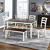 Merax Dining Table Set, 6 Piece Wood Kitchen Table Set Home Furniture Table Set with Chairs & Bench (White + Cherry)