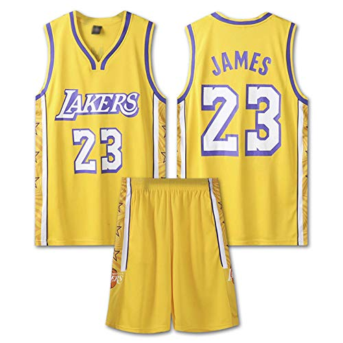 GAOXI Uniforme de Baloncesto de James Men, Lakers # 23 James Basketball Uniforme Top Transpirable Suelto Top Casual Chaleco sin Mangas Camiseta Swingman, Yellow 23-XXXXL