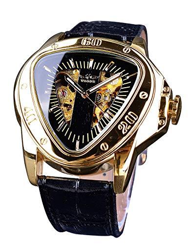 Winner Reloj de Pulsera mecánico con Esfera Triangular de Carreras, Esfera Dorada de Esqueleto