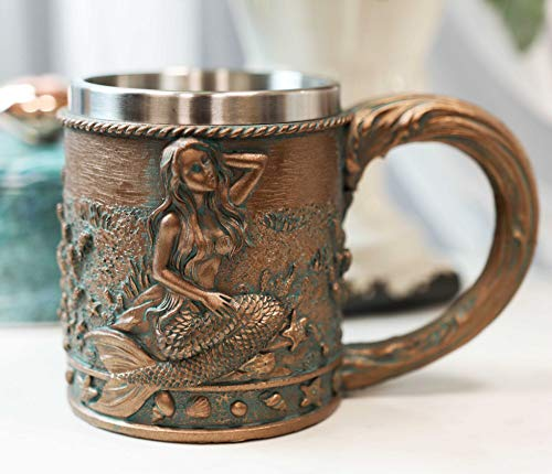 Ebros Rustic Nautical Ocean Marine Coral Reef Mermaid With Sea Stars And Shells Mug For Bridal Fantasy Fairy Tale Gifts Beer Stein Tankard Coffee Cup For Drinking