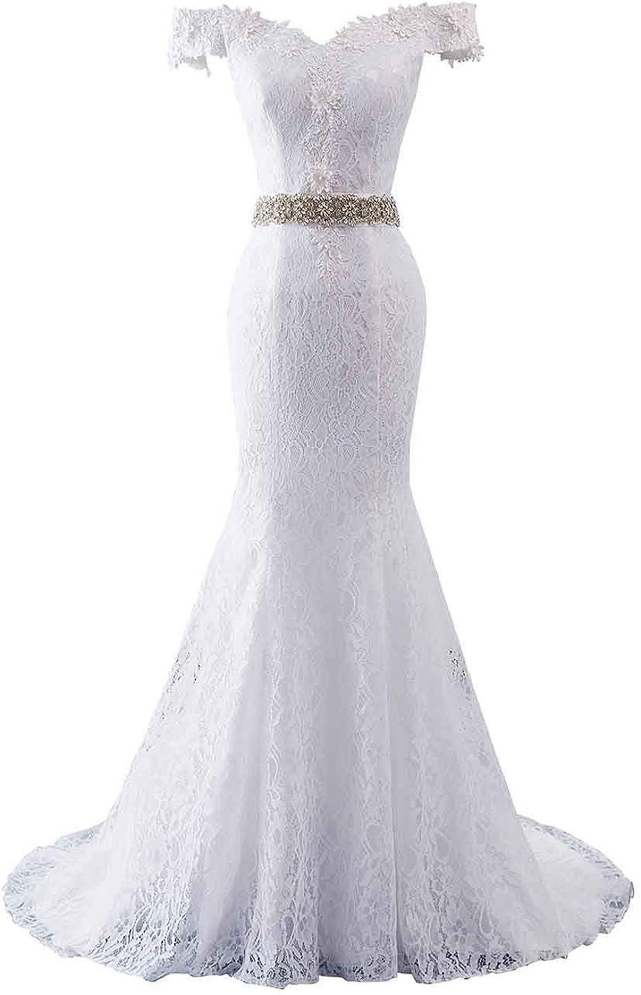 Changuan Women's Wedding Dresses for Bride Floral Lace Beach Wedding Dress Mermaid Bridal Gown