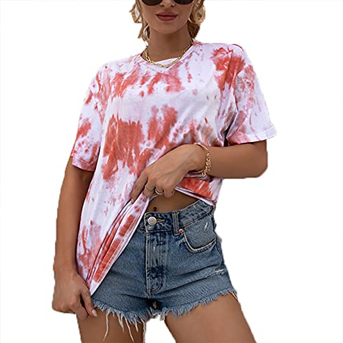 Jersey Informal De Primavera Y Verano para Mujer, Camiseta Holgada De Manga Corta con Estampado De TeñIdo Anudado Y Cuello Redondo para Mujer