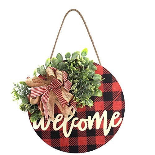 Christmas Welcome Sign Wooden Hanging Sign Buffalo Plaid Decor Front Porch Decorations for Christmas,Restaurant, Home, Outdoor with LED String Line (Welcome-Orange)