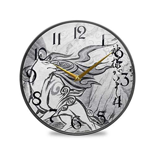 ART VVIES Reloj de Pared Redondo de 12 Pulgadas Que no Hace tictac silencioso operado por batería Oficina Cocina Dormitorio Decoraciones para el hogar-Arte de la mitología Antigua Japonesa
