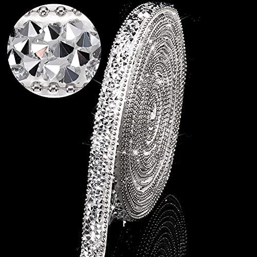 3 Yards Resin Rhinestone Ribbons Self Adhesive Diamond Ribbon Crystal Ribbon Roll Glitter Resin Diamond Belt Bling Rhinestone Ribbon for DIY Art Crafts (Silver,0.4 Inch)