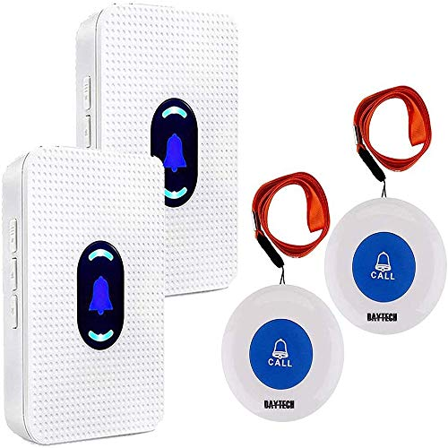 Cordless Pager Alarm System for Carers SOS Call Button for Elderly Patients and Seniors with Disabilities, 2 Receiver and 2 Portable Transmitters