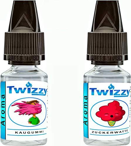 2 x 10ml Twizzy® Sugar Shock Aroma Bundle | Kaugummi, Zuckerwatte | Aroma für Shakes, Backen, Cocktails, Eis | Aroma für Dampf Liquid und E-Shishas | Ohne Nikotin 0,0mg | Flav Drops