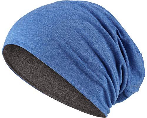 Hatstar 2in1 Reversible Damen Beanie | Damen und Herren Mütze | Wintermütze | weich & warm (dunkelgrau/blau meliert)