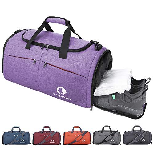 CANWAY Faltbare Sporttasche Faltbare Reisetasche mit dem schmutzigen Fach und Schuhfach Leichtgewicht für Männer und Frauen (Lila)